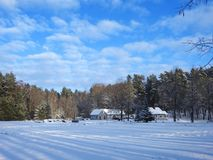 Homestead near forest in winter, Lithuania stock image