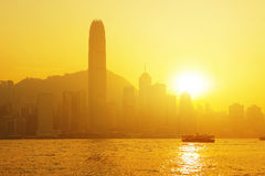 Beautiful HongKong cityscape at sunset Stock Photo