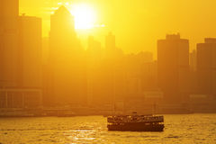 Beautiful HongKong cityscape at sunset Royalty Free Stock Image