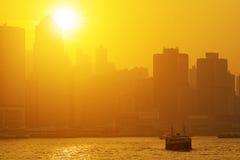 Beautiful HongKong cityscape at sunset Royalty Free Stock Photography