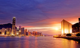 Beautiful HongKong cityscape at sunset Royalty Free Stock Photo