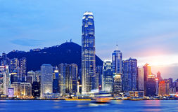 Beautiful HongKong cityscape at sunset Stock Photography