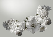 Beautiful horizontal frame with a bouquet of white roses with rain drops. Black and white toning image. Overhead view royalty free stock photos