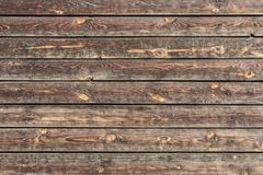 A beautiful horizontal texture of old yellow and brown boards with knots and resin and hammered nails in the photo. A beautiful horizontal texture of old yellow royalty free stock images