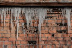 A beautiful horizontal texture of part of a old crashed brick wall in orange hue with a group of sharp white icicles is hanging do. Wn from the gray roof of a royalty free stock images