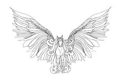 Beautiful Horse with mane and wings.Pegasus. Vector illustration . Black and white style Royalty Free Stock Images