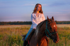Beautiful horseback rider in a field at sunset Royalty Free Stock Photography