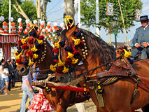 Beautiful horses at the Sevilla Fair, Spain. Horse carriage during the feast that is celebrated in spring in Seville, Andalusia, Spain Stock Photography