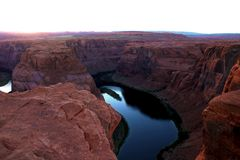 Beautiful horseshoe bend on sunny day, Page, Arizona, USA royalty free stock photos