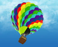 Beautiful Hot Air Balloon against a deep blue sky. Royalty Free Stock Photography