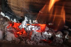 Beautiful hot fire burning in a fireplace stock photo