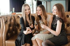 Beautiful hot girls having party fun, drinking champagne stock image