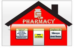 Hot red and white illustration of a pharmacy vector illustration
