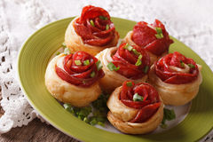 Beautiful hot sandwiches with salami in the form of a flower. ho Stock Photo