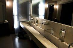 Beautiful hotel bathroom interiors. Nice lighting and interiors in a luxury hotel bathroom Stock Images