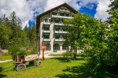 Beautiful hotel in the Braies lake, summer season, Alto-Adige, Italy. Europe royalty free stock image