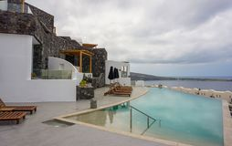 Beautiful hotel with pool and sea view stock photo