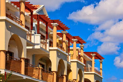 Beautiful hotel at sunny day. Beautiful arabic hotel at sunny day stock photography