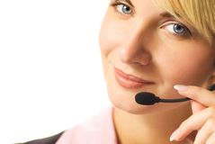 Beautiful hotline operator. With headset isolated on white background Royalty Free Stock Photo