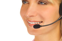 Beautiful hotline operator Stock Photo