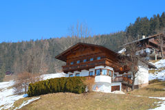 Beautiful house in the Alps. Stock Photo