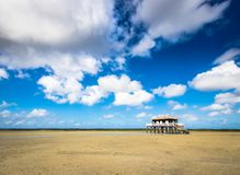 Beautiful house in the basin of Arcachon. Beautiful black wood house on stilts in the basin of Arcachon on the island with birds Stock Photography