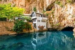Beautiful house in Blagaj village on Buna spring Royalty Free Stock Photography