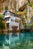 Beautiful house in Blagaj village on Buna spring Royalty Free Stock Photography