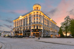 Beautiful house in central part of Warsaw in the evening. Royalty Free Stock Photos