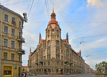 Beautiful House of city institutions in Saint Petersburg, Russia. House in style of Modern of the beginning of the 20th century on Sadovaya street in the centre Royalty Free Stock Image