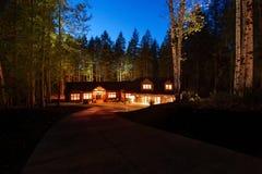 Beautiful house with driveway. Stock Photo