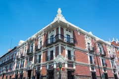 Beautiful House in Puebla. Beautiful house exterior covered in talavera pottery in Puebla, Mexico Royalty Free Stock Photos