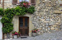 Beautiful House Exterior and Front Door Stock Images