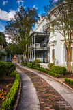 Beautiful house and garden in Charleston, Florida. Royalty Free Stock Image