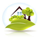 Beautiful house and garden icon Stock Photo