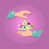 Beautiful house with garden on pink background. Royalty Free Stock Photos