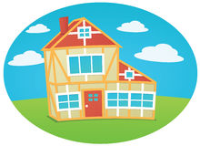 Beautiful house. S on cloudy background Royalty Free Stock Photos