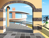 Beautiful House Illustration. Illustration of a beautiful house with waterfront propertiy Stock Photo