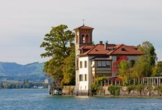 A beautiful house in italian style. On the shore of the Thunersee (Switzerland Royalty Free Stock Photo