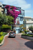Beautiful house at Lombard Street, San Francisco. Unique beautiful house with bougainvillea wall at Lombard Street, San Francisco (California Royalty Free Stock Photography