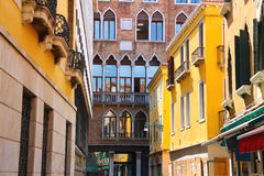 Beautiful house on a narrow street in Venice, Stock Image