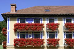 Beautiful house in Navarra with flowers on balcony Royalty Free Stock Photography