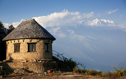 Beautiful house near Himalayan mountains Stock Images