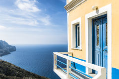 Beautiful House in Olympos, Karpathos. Beautiful House on the cliff in Olympos, Karpathos island, Greece Royalty Free Stock Image
