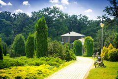 Beautiful house in park Royalty Free Stock Photography