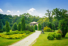 Beautiful house in park Stock Photos