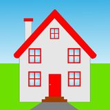 Beautiful  house  with a red roof Royalty Free Stock Photo