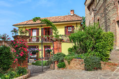 Beautiful house in town of Barolo, Italy. Royalty Free Stock Images