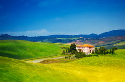 Beautiful house in Tuscany landscape, Italy Stock Photography