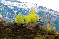 Beautiful House With vibrant color in manali India. On the way to Solang valley in Manali, Beautifully located house at the top of the hill with vibrant colors Stock Photos